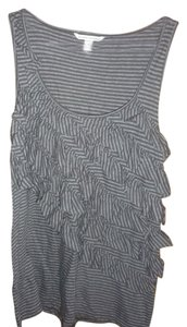 Banana Republic Ruffle Tier Stripe Top Gray