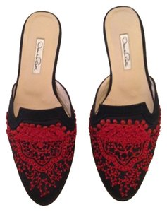 Oscar de la Renta Black & Red Mules