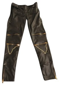 Zipper Leather Pants Skinny Jeans