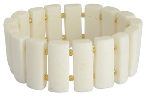 White Sponge Coral and Champange Glass Stretch Bracelet - Free Shipping
