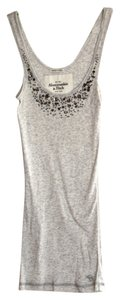 Abercrombie & Fitch Top Gray with Silver beads and rhinestones