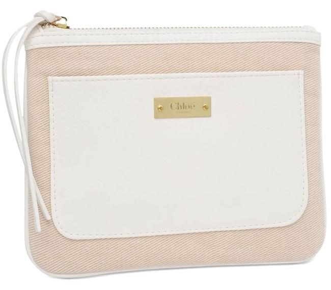 Item - Taupe/White Pouch White/Beige Cosmetic Bag