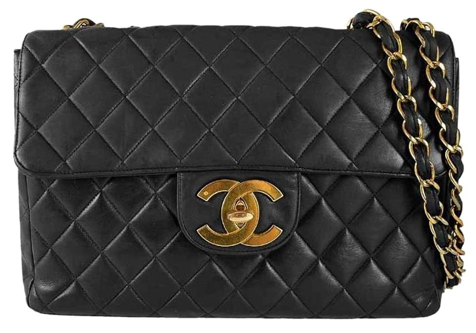 e84cd391b1c8 Chanel Vintage Black Quilted Lambskin Leather Classic Maxi Jumbo Xl Flap  Shoulder Bag Image 0 ...