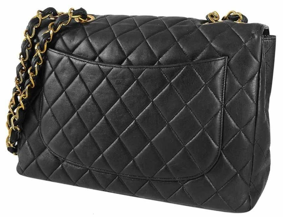 1b91ee0a639b Chanel Vintage Black Quilted Lambskin Leather Classic Maxi Jumbo Xl Flap  Shoulder Bag Image 10. 1234567891011