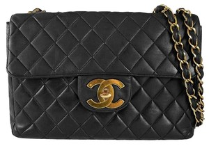 Chanel Vintage Black Quilted Lambskin Leather Classic Maxi Jumbo Xl Flap Shoulder Bag