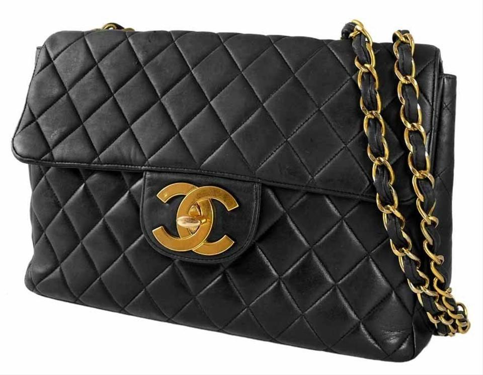 Chanel Classic Flap Vintage Black Quilted Lambskin Leather Maxi Jumbo Xl Shoulder Bag Tradesy