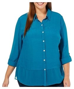 Notations Plus-size Teal Flattering Chiffon Top blue