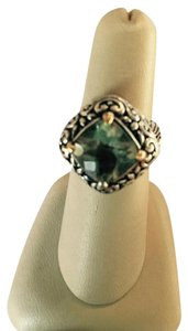 Bloomingdale's LARGE GREEN AMETHYST STONE RING WITH ELABORATE SILVER SETTING