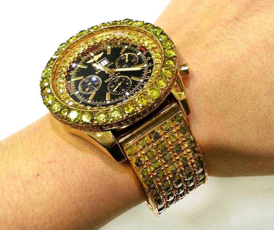 Breitling Bentley Watch With 78.00 Carats TW Of Yellow