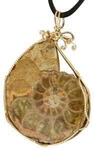 Other Gold FIlled Wire wrapped LARGE Ammonite Fossil Pendant