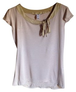 H&M Striped Bow White Beige Top