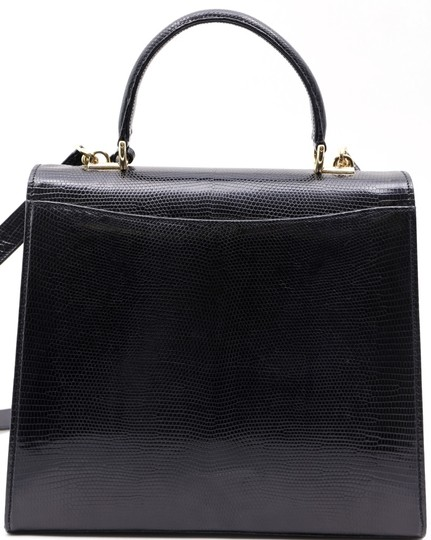 Gucci Kelly Lizard Rare Piece Tote in Black
