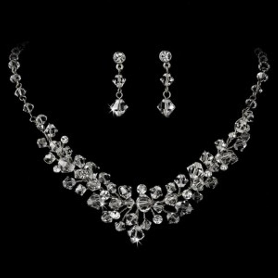 Elegance By Carbonneau Silver Crystal Platng Jewelry Set
