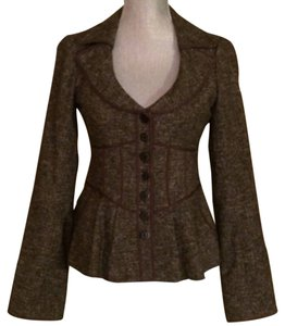 Nanette Lepore Blazer Brown Size 4 Wool Stretchy Lined Buttons Brown purple Jacket