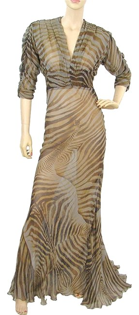 Item - Brown Taupe Beige Orange Tiger Print Silk Gown Long Cocktail Dress Size 4 (S)
