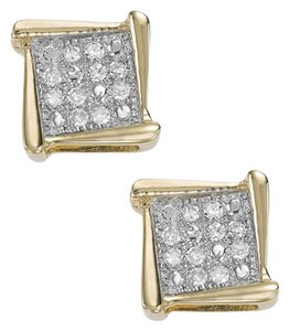 Helzberg Diamonds New Helzberg 10kt Gold Diamond Pave Earrings
