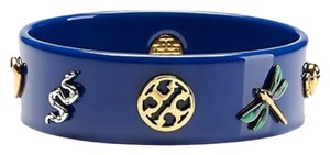 Tory Burch Tory Burch Sylbie Charm Resin Bangle Bracelet Navy Blue 16k Gold Crystal New With Tag