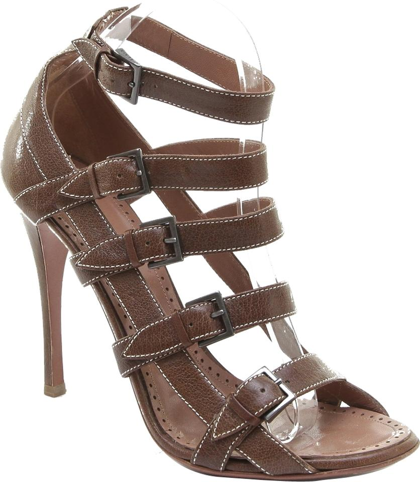 a0f1b93c1dc ALAÏA Brown Leather Gladiator Heel Open Toe White Strap 39.5 Sandals ...