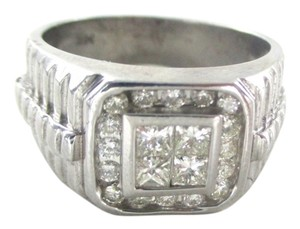 Other 14K WHITE SOLID GOLD 20 DIAMONDS .72 CARAT SZ 8 FINE JEWELRY CLUSTER RING FINE