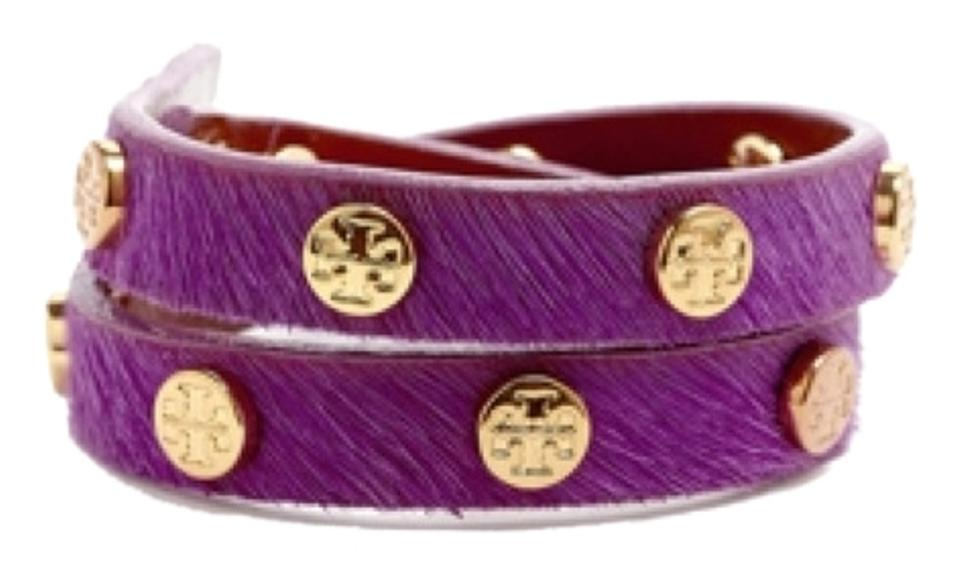 0a1d4f5474c45 Tory Burch Logo Studded Double Wrap Bracelet Purple Calf Hair Image 0 ...