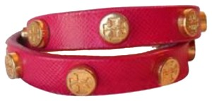 Tory Burch Tory Burcg Double Wrap Gold Logo Bracelet Pink Leather New With Tag