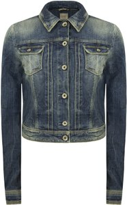 Guess Jean Jean Distressed Medium Rhinestones Womens Jean Jacket