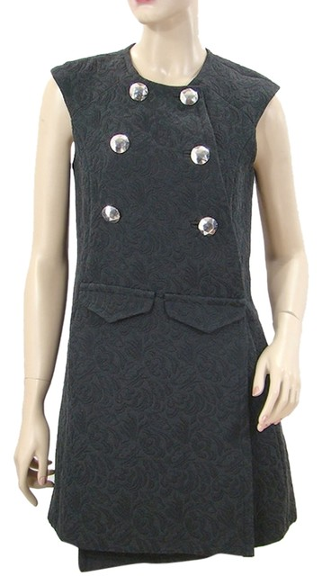 Item - Black Jacquard Double Breasted Mod Above Knee Formal Dress Size 4 (S)