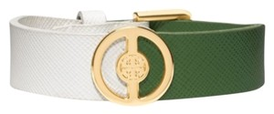 Tory Burch Deco Logo Two Tone Leather Bracelet Green White Saffiano