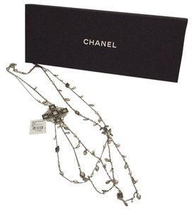 Chanel 2015 Swarovski Crystal Necklace Black Silvertone New