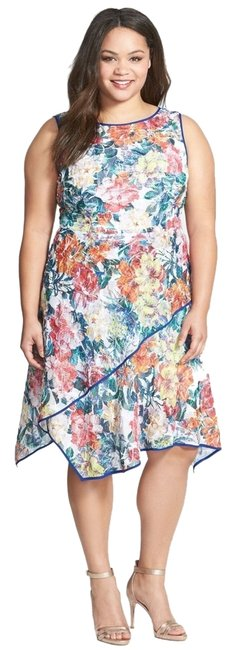Adrianna Papell White Multi Floral Print Asymmetrical Fit & Flare 14w Knee Length Work/Office Dress Size 14 (L) Adrianna Papell White Multi Floral Print Asymmetrical Fit & Flare 14w Knee Length Work/Office Dress Size 14 (L) Image 1