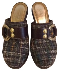 Coach Mule Clog Brown Leather and Woven Wool Mules