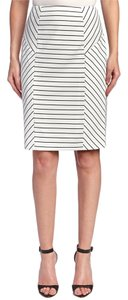 Tahari Structured Skirt Ivory White & Black Stripe