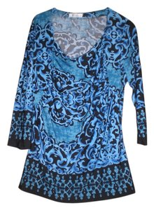 Dress Barn Top blue, teal and black