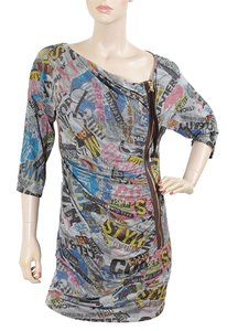 Love Moschino short dress Blue, Grey, Multi Color Print Spring New York A-line Zipper Jersey on Tradesy