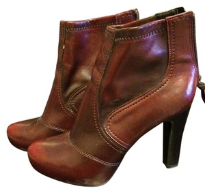Franco Sarto Bootie Leather Heels Red/Brown Boots