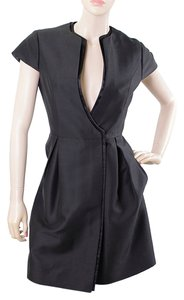 Magaschoni Evening Large Flap Pleated V-neck Silk Dress