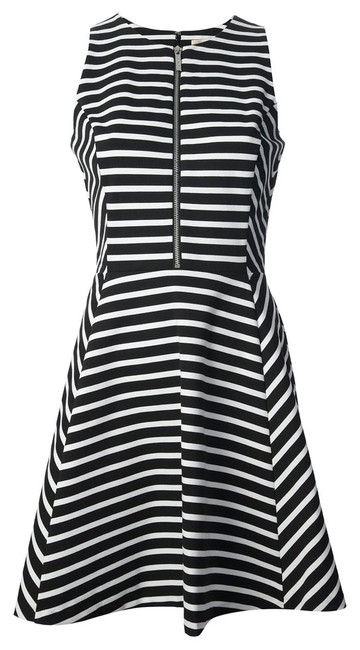Item - Navy Yellow Striped Front-zip Ponte Mid-length Cocktail Dress Size 0 (XS)