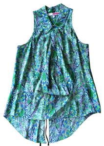 Tracy Reese Silk Floral Sleeveless Top Green