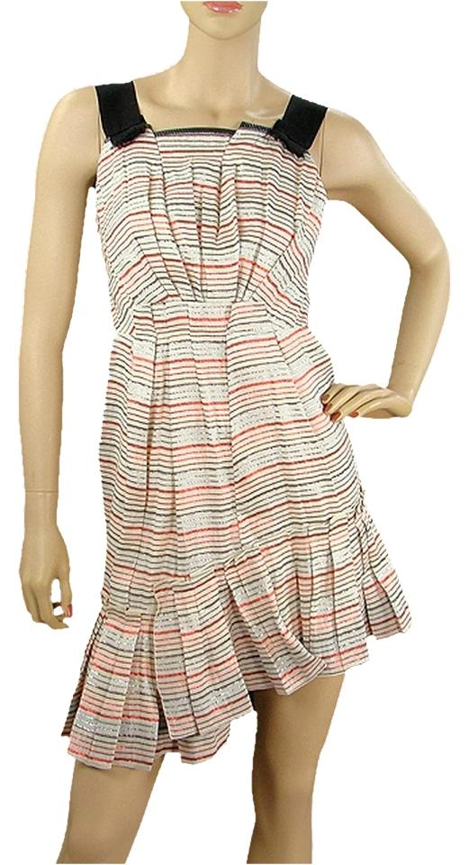 Marc Jacobs Short Dress Pink Black White Blue Striped Pinstripe Ruffle Metallic Pleated