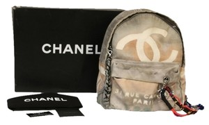 Chanel 2014 Chanel Signature Art School Beige Graffiti Backpack *Rare* Runway Edition