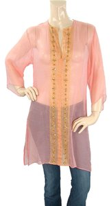 Miguelina short dress Pink, Gold Sheer Silk Embroidered on Tradesy
