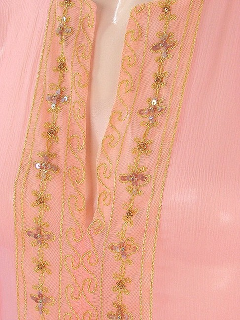 Miguelina short dress Pink, Gold Sheer Silk Embroidered Embellished Tunic Summer Beaded Sequin on Tradesy