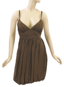 Milly short dress Brown Pleated Silk Evening Chiffon on Tradesy