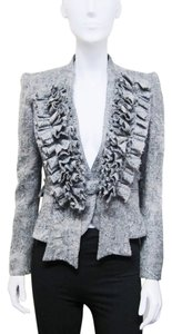 Givenchy Paris Distressed Wool Tweed Victorian Ruffles Cropped Size 38 Size Small Size 04 Gray Jacket