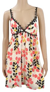 Milly short dress Pink, Black, White, Yellow Floral Summer Silk Crochet Empire Waist on Tradesy