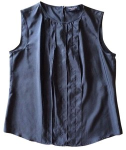 Piazza Sempione Silk Italian Sleeveless Top Navy