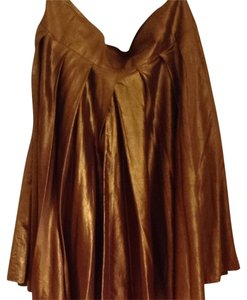 DKNY Copper Silk Metallic Holiday Skirt Gold Copper