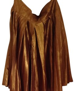 DKNY Silk Metallic Skirt Copper gold multi