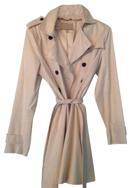 Item - Cream Belted Button-down Double-breasted Br Coat Size 12 (L)