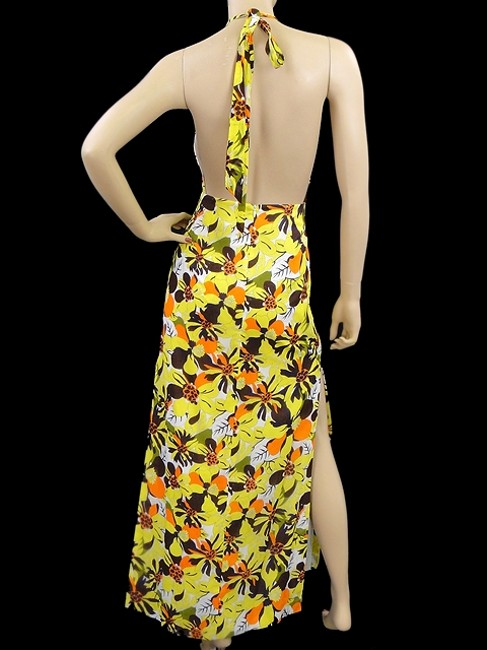 Yellow, Brown, Orange, White Maxi Dress by MILLY Floral Cotton Halter Gown Maxi Print Spring Summer